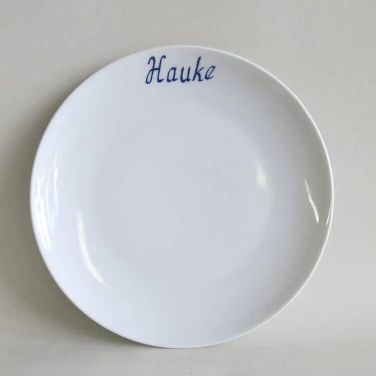 Teller Ole 21 cm mit blauem Namenszug