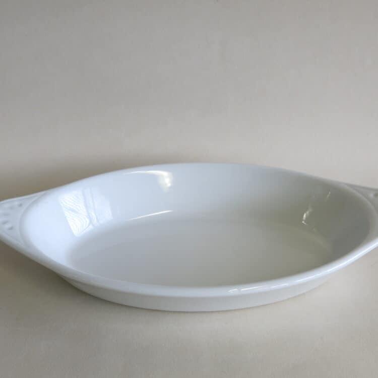 Auflaufform oval weiß mit Griffen
