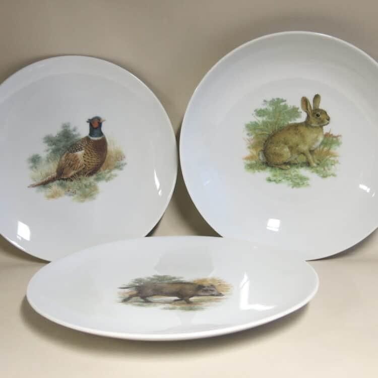 Glattes Porzellan mit Jagdmotiven aus England