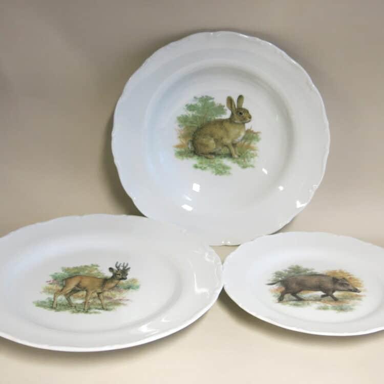 Englische Jagdmotive drei Teller Ofelie 24 cm Rehbock, Wildschwein, Wildkaninchen