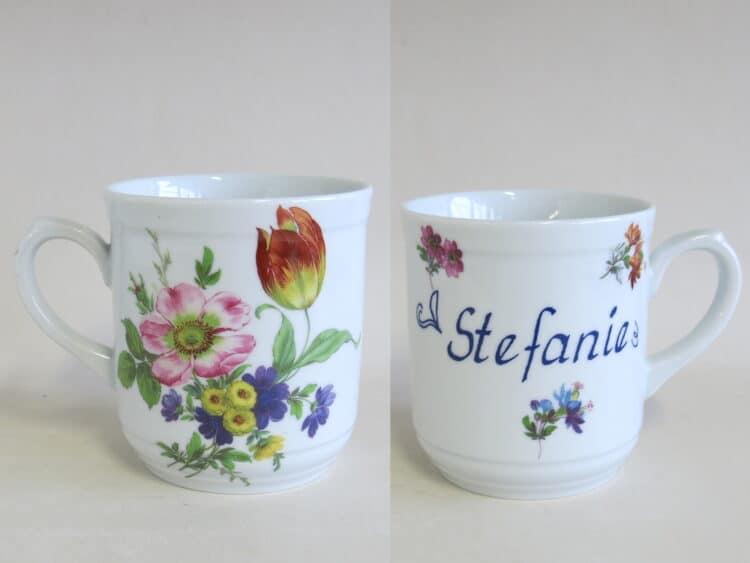 2000 Namenstasse Sina klein mit rosa Wildrose und Tulpe 1090