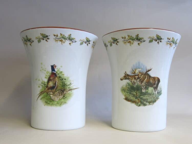 Porzellanvase König mit Wildmotiv Elch und Wildmotiv Fasan
