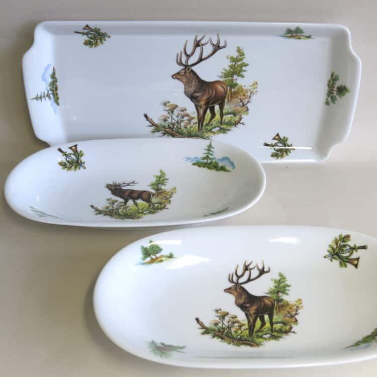 Jagdmotive auf glattem Porzellan Ole