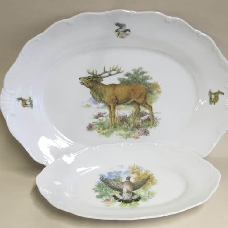Jagdmotive Baileys Platte groß Hirsch und Beilagschale Ofelie Taube