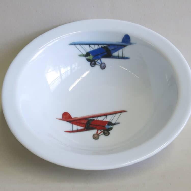 Müslischüssel 16 cm aus Porzellan mit Doppeldecker Flugzeugen