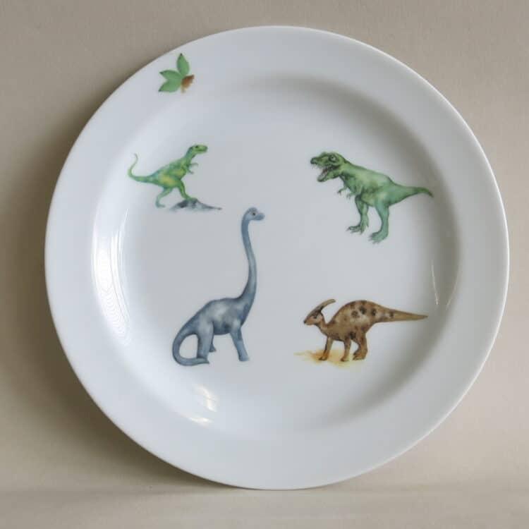 Teller 19 cm aus Porzellan mit Dinosauriern