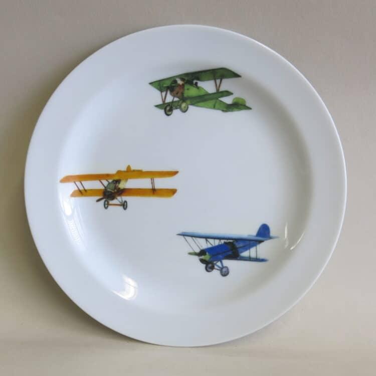 Teller 19 cm aus Porzellan mit Doppeldecker Flugzeugen