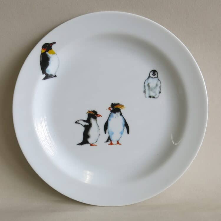 Teller 19 cm aus Porzellan mit antarktika Pinguinen