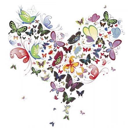 Herz bestehend aus Schmetterlingen für Porzellan