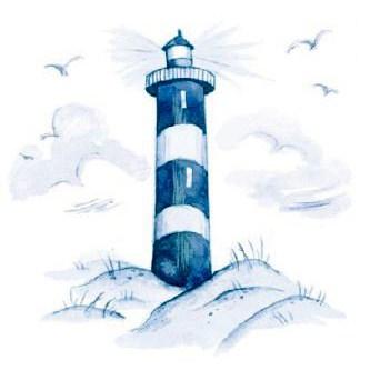 Motiv maritimer Leuchtturm auf dem Hügel