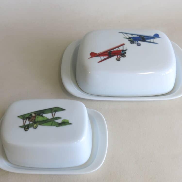 Beide Porzellan Butterdosen König mit bunten doppeldecker Flugzeugen