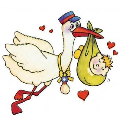Motiv Storch mit Baby und Herzen Zur Geburt für Hebammen Eltern oder Großeltern