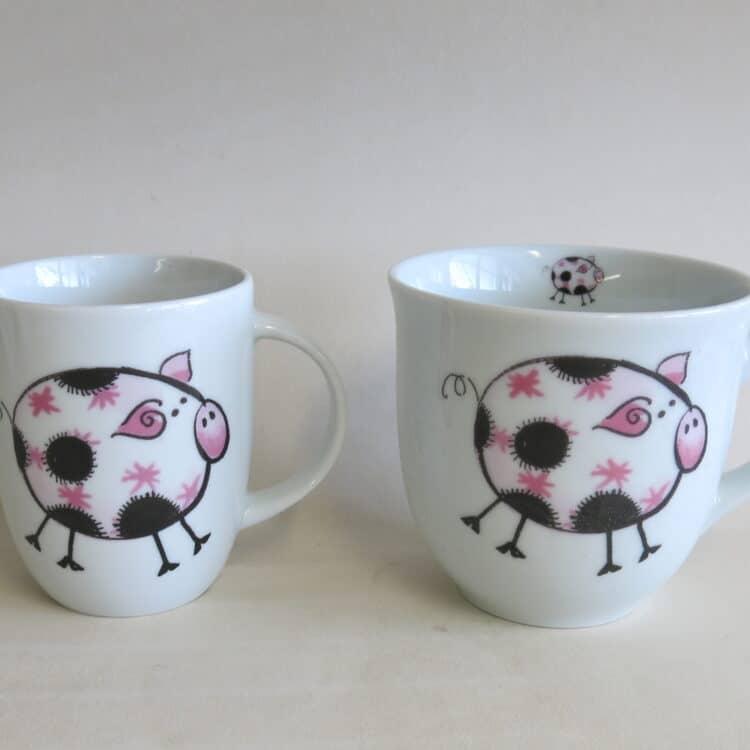 Becher Daria und Mirek Schweinchen rosa Farm kunterbunt