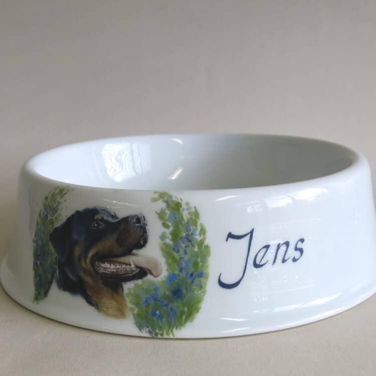 Großer Porzellan Fressnapf mit Namen und Rottweiler