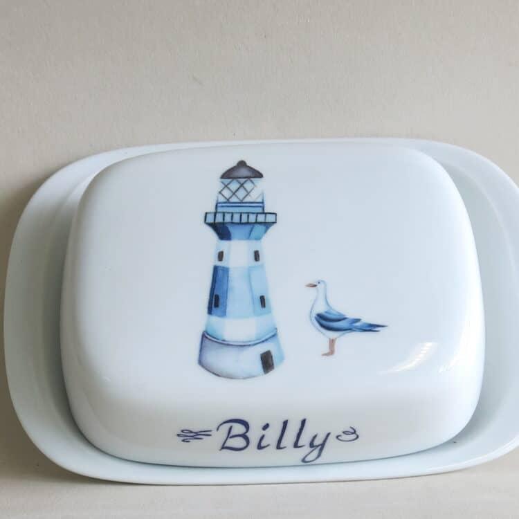 Butterdose König blauer Leuchtturm und Möwe personalisiert mit Namen
