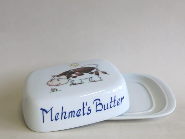 Porzellan Butterdose 250g König Kuh und Mehmets Butter