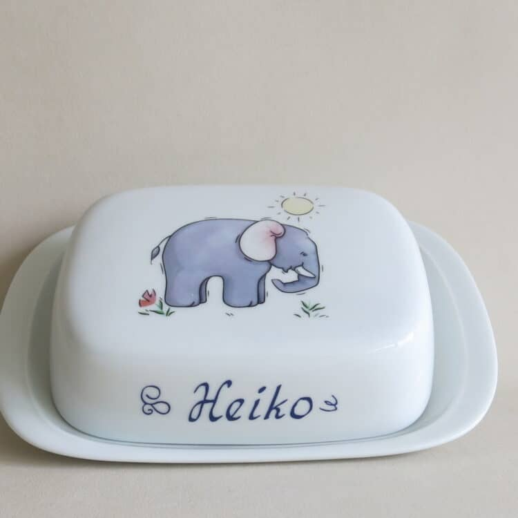 Porzellan Butterdose Elefant personalisiert