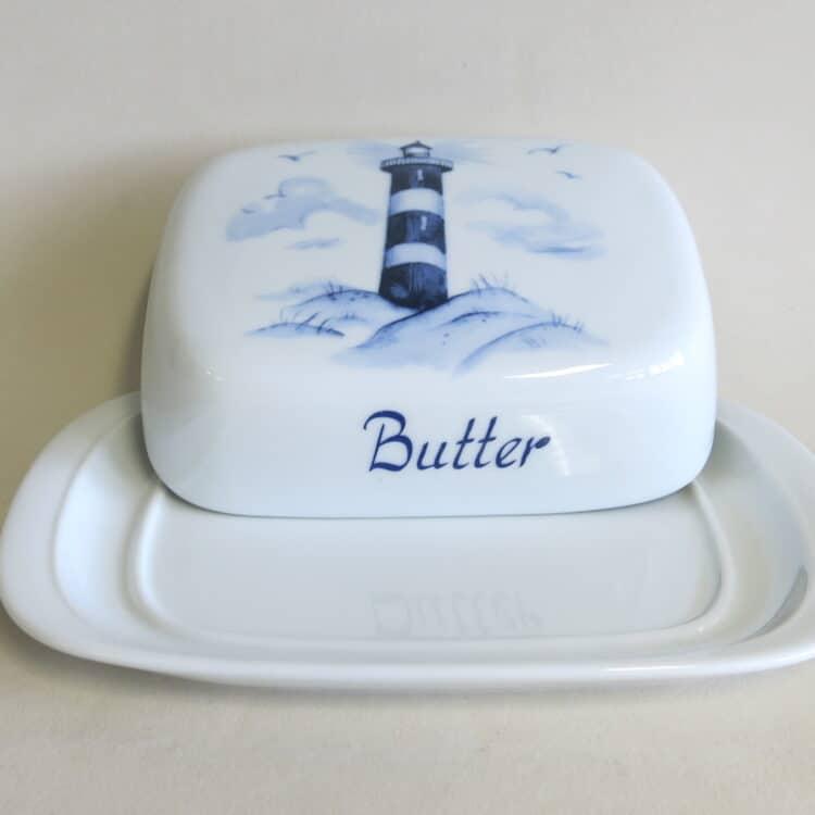 Porzellan Butterdose König Leuchtturm maritim Aufschrift Butter