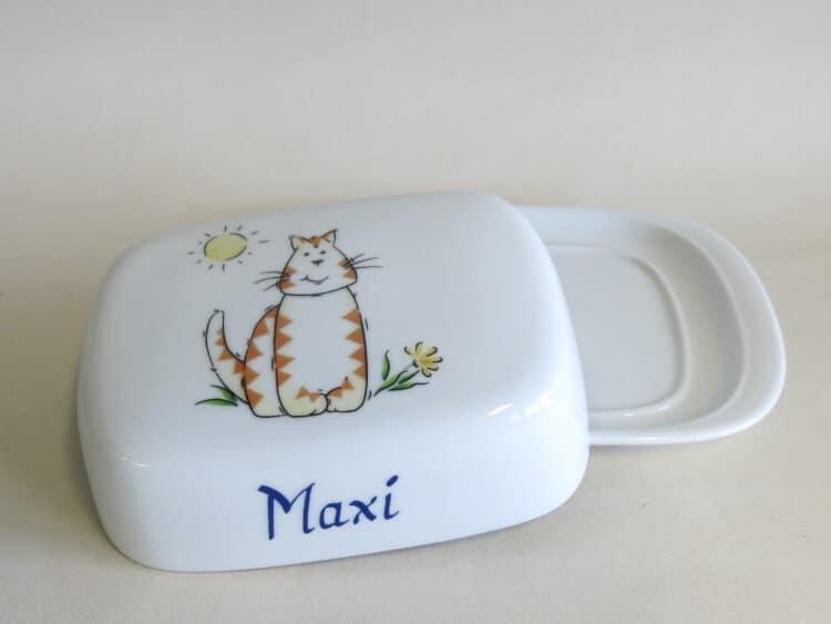 Porzellan Butterdose rote Tigerkatze personalisiert