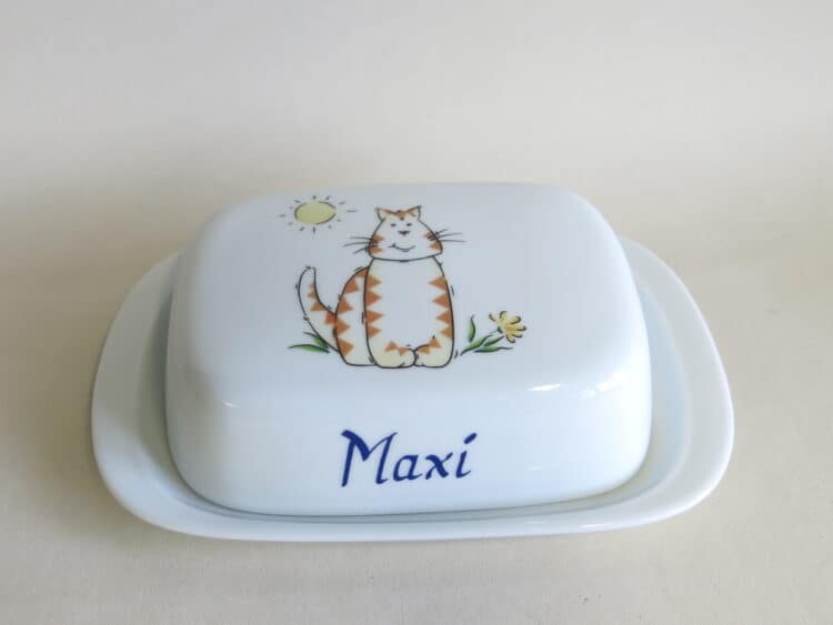 Porzellan Butterdose rote Tigerkatze personalisiert geschlossen