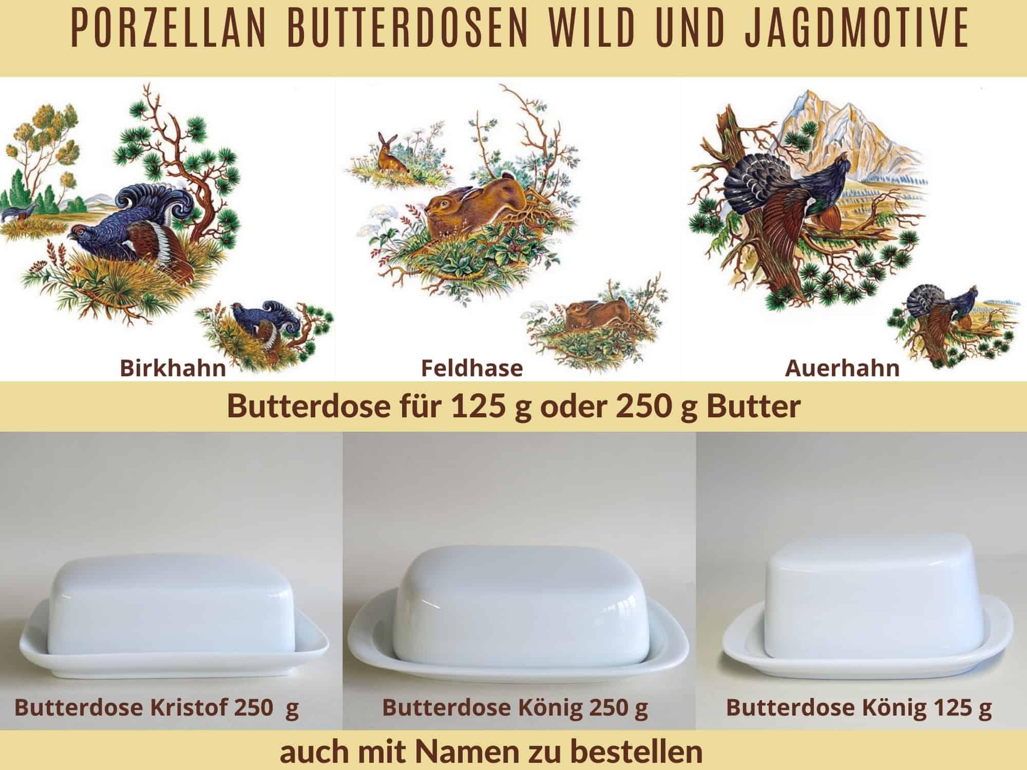 Porzellan butterdosen Jagdmotive Birkhahn Feldhase Auerhahn